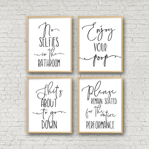 Bathroom Wall Art No Selfies In The Bathroom Enjoy Your | Etsy