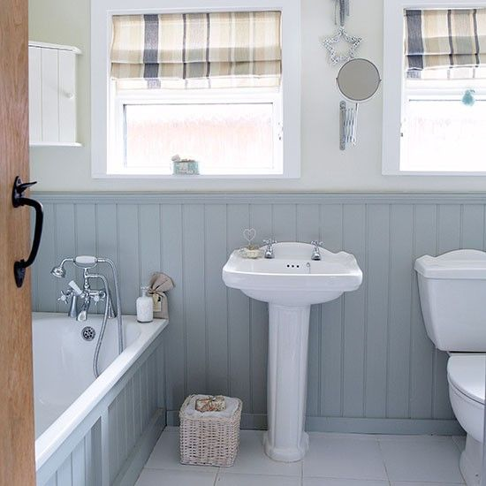 Grey And White Country Bathroom With Wall Panels Inside Paneling