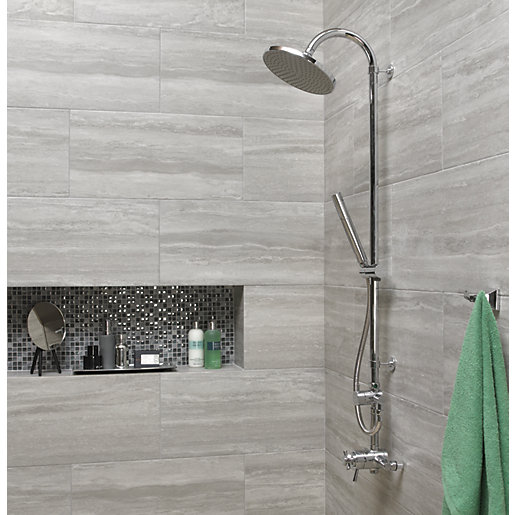 Wickes Everest Stone Porcelain Tile 600 x 300mm | Wickes.co.uk