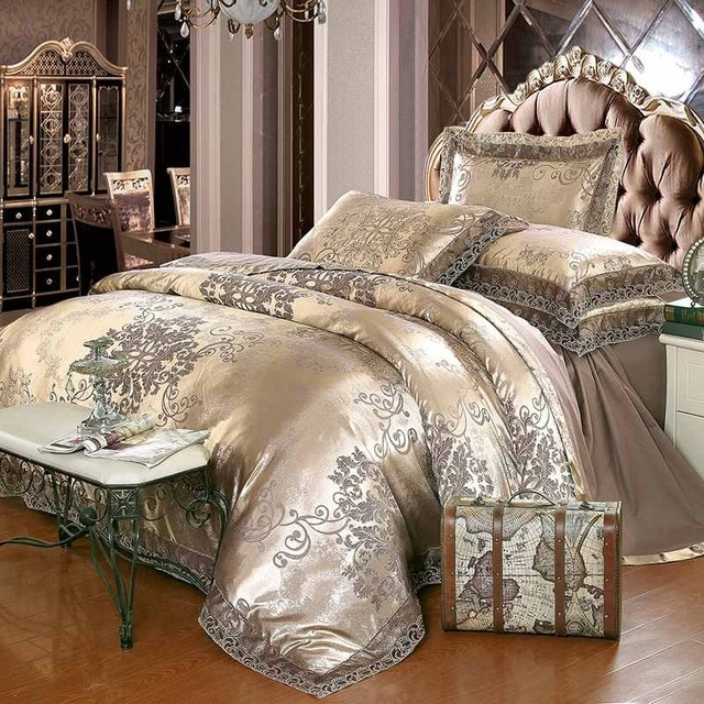 Jacquard Bed linen King Queen Size 4pcs Adult Lace Satin Duvet Cover