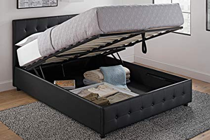 Amazon.com: DHP Cambridge Upholstered Faux Leather Platform Bed with