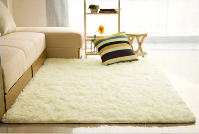 Fluffy Rugs Anti-Skid Shaggy Area Rug Dining Room Home Bedroom