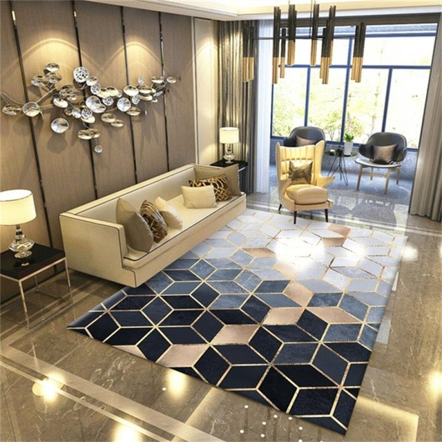 Nordic Marble Texture Carpet Modern Bedroom Carpet Home Living Room