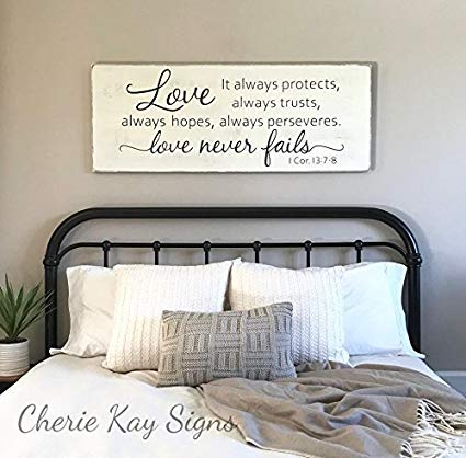 Ruskin352 Wood Sign Plaque Master bedroom wall decor Love never fails 1  Corinthians 13 wood sign rustic bedroom decor farmhouse bedroom 24 x 9.2