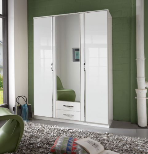 Arosa Triple White Gloss Wardrobe - German Wardrobes