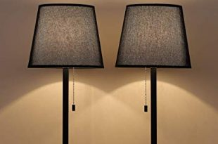 HAITRAL Black Bedside Table Lamps - Set of 2 Night Stand Lamps with