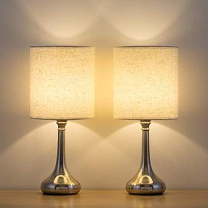 HAITRAL Bedside Table Lamps Set of 2 - Unique Modern Nightstand