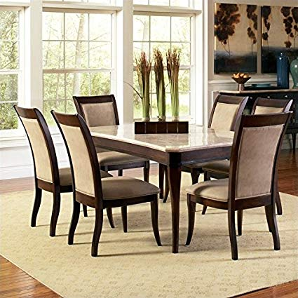 Amazon.com - Steve Silver Marseille 7 Piece Marble Top Dining Set in