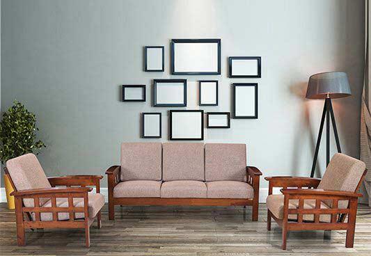 Buy Royaloak Melborne 3+1+1 Solidwood Sofa Set -Brown by Royaloak at