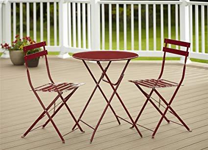 Amazon.com: Cosco Outdoor Bistro Set, 3 Piece, Folding, Red: Garden