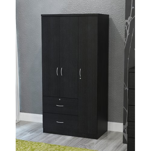 Hazelwood Home Black 3 Door Armoire - Walmart.com