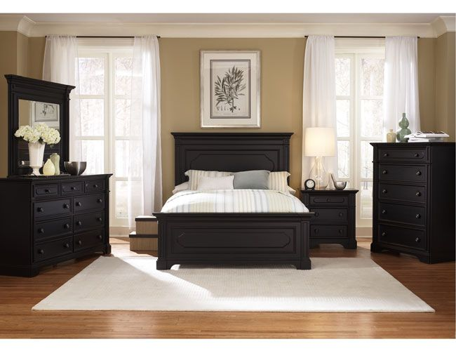 THE FURNITURE :: Black Rubbed Finished Bedroom Set with Panel Bed