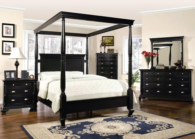 Black Bedroom Furniture Set | St Regis Canopy Bed
