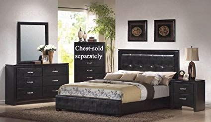 Amazon.com: 4pc King Size Bedroom Set in Black Finish: Kitchen & Dining