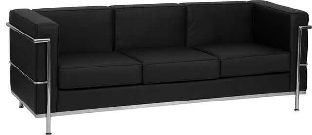 Hercules Regal Series Contemporary Black Leather Sofa With Encasing