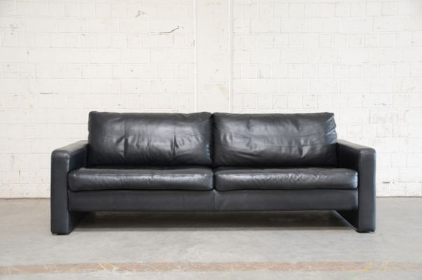 Vintage Conseta Black Leather Sofa from Cor for sale at Pamono