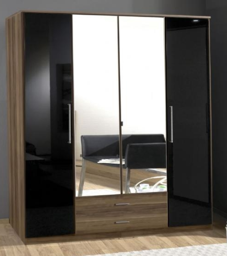 Dresden 4 Door Black Gloss and Walnut Effect Wardrobe 136453
