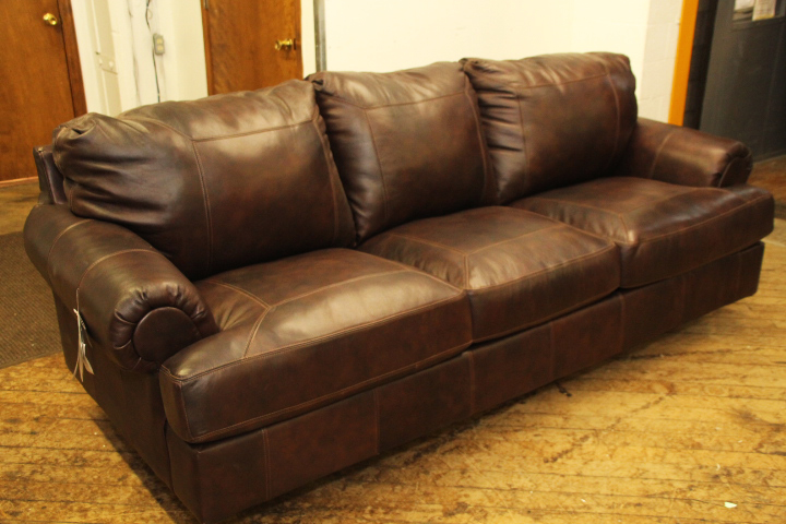 Ashley Brown Leather Sofa | Pittsburgh Furniture Outlet