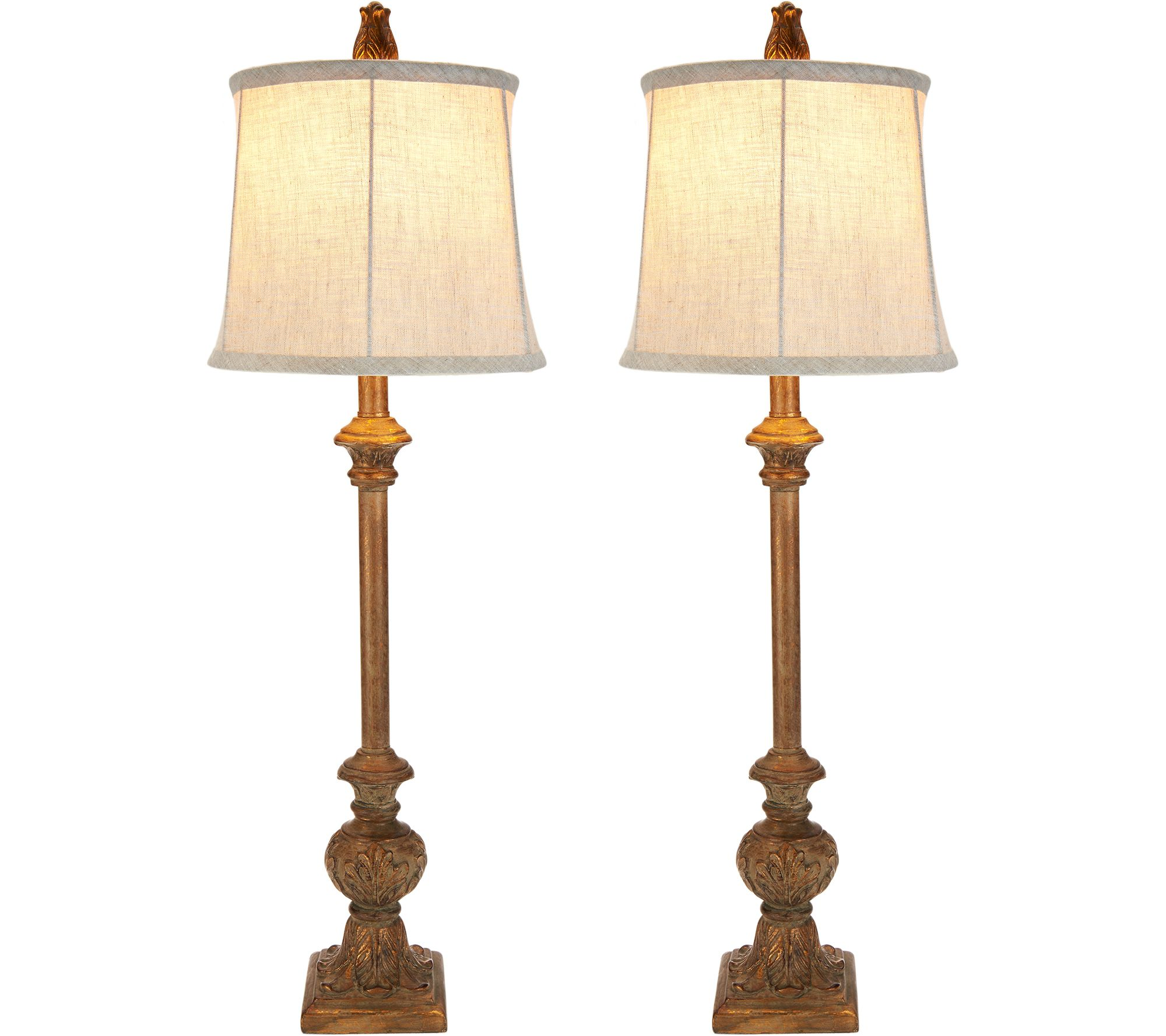 Set of 2 Embossed Leaf Plug-In Buffet Lamps by Valerie - Page 1