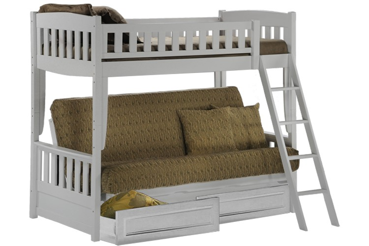 White Bunk Bed Sofa | Wood Futon Bunk Sofa Bed White | The Futon Shop