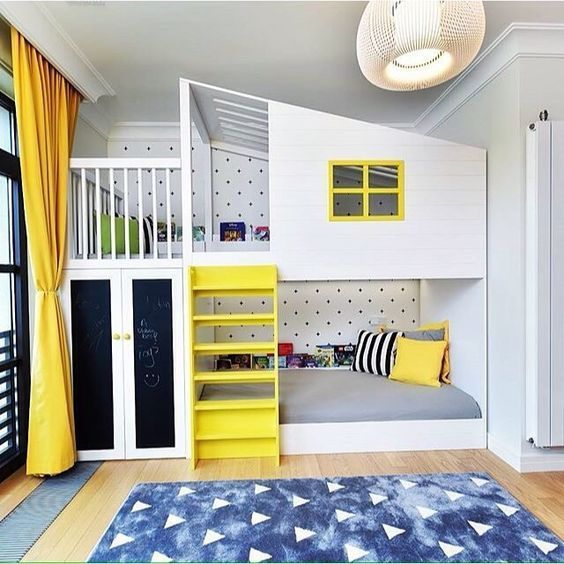 Go to Bunk Bed, Interiors, White, Yellow, Kids Rooms, Teen Rooms