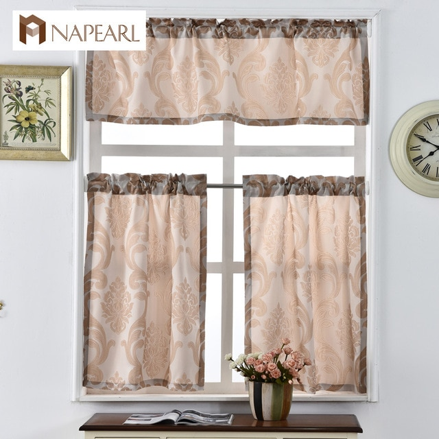 Short kitchen curtains shade window treatments modern door jacquard
