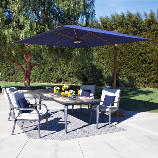 Bali 10 ft. Square Sunbrella Cantilever Umbrella with Cross Base by