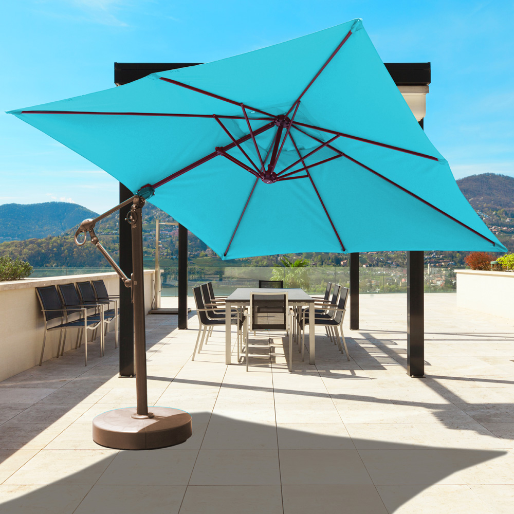 Galtech Aluminum 10' x 10' Square Cantilever Umbrella with Easy Lift