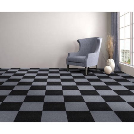 Peel & Stick Carpet Tiles, Jet Black - Mazer Wholesale, Inc.