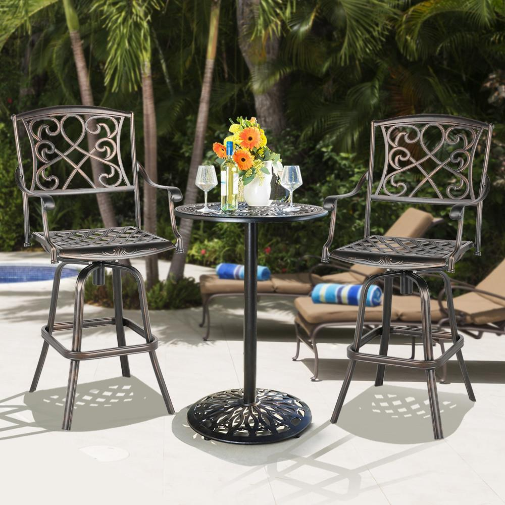 Yaheetech Cast Aluminum Patio Chair Patio BarStool Dining Chair
