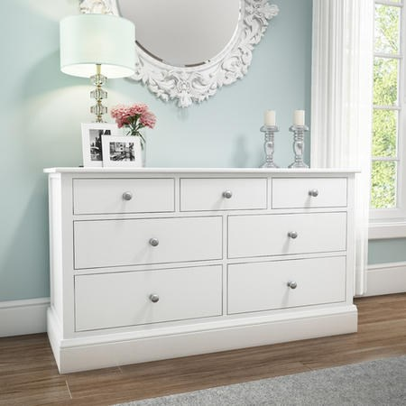 Harper White Solid Wood 4+3 Wide Chest of Drawers | Furniture123