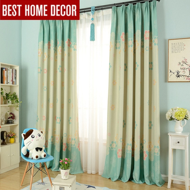 Modern cartoon flower blackout curtains for kid's room children