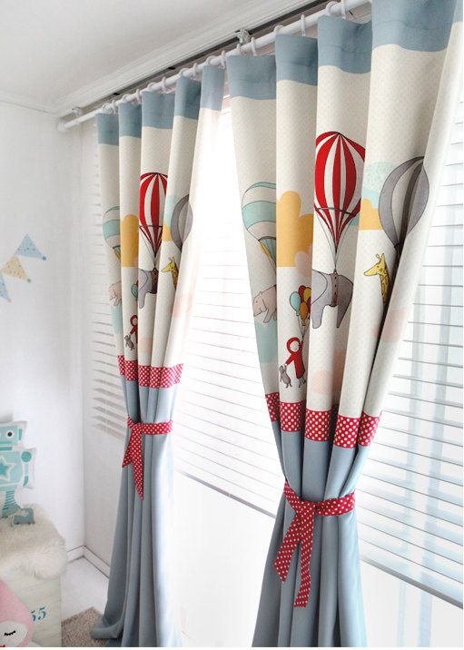 D E S C R I P T I O N ] Blue Adballoon Kids Blackout Curtains