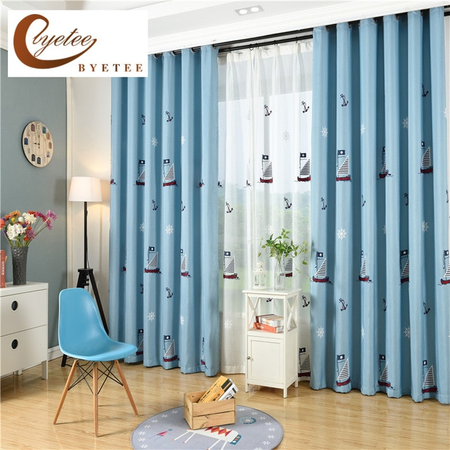 byetee] Children Curtains For Living Blackout Embroidered Curtains