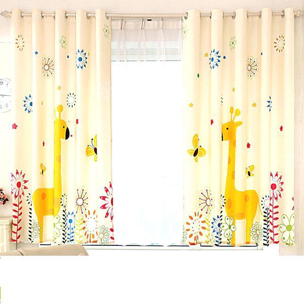 Impressive Giraffe Digital Print Children Curtains Cartoon Floating