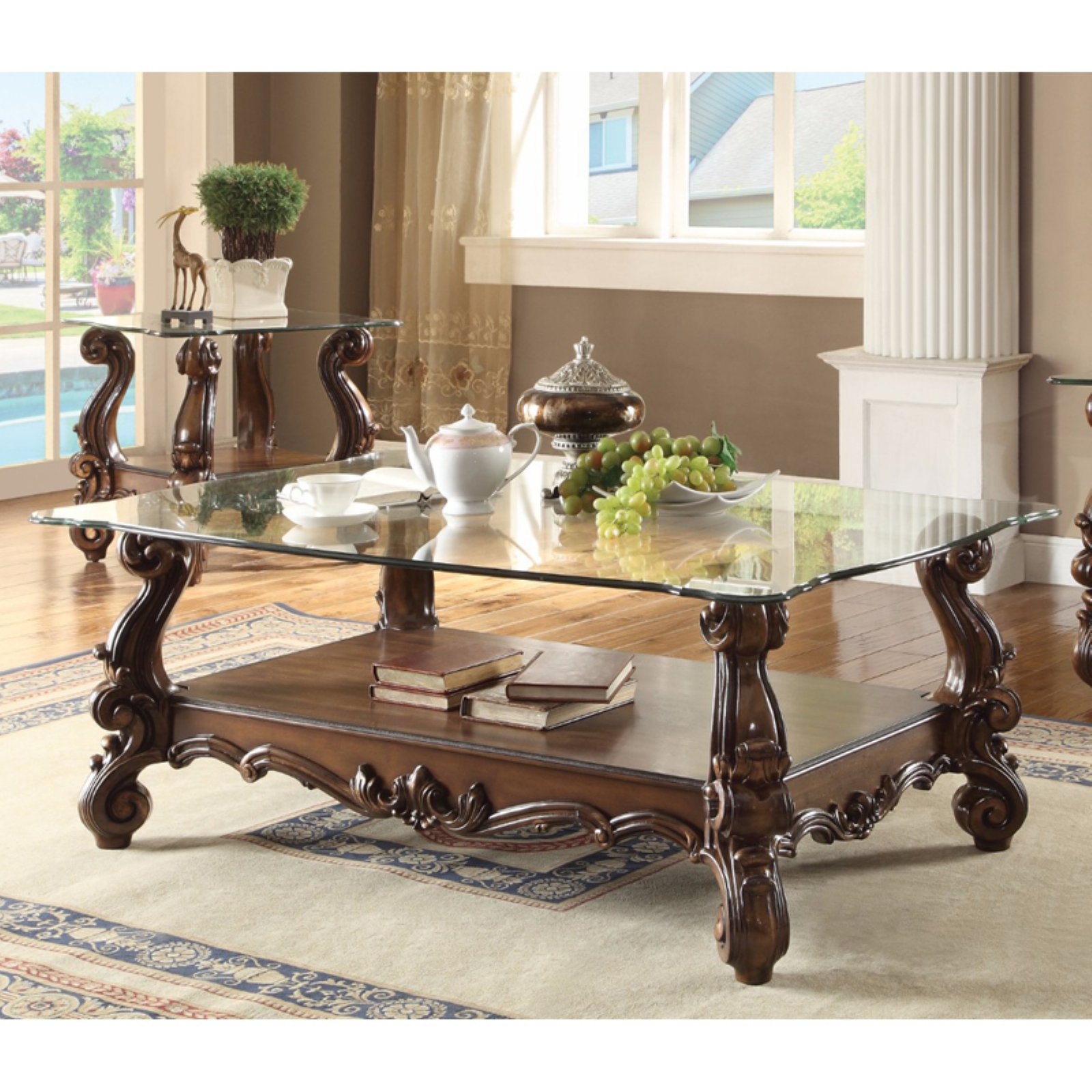 Classy Coffee Table, Cherry Oak & Clear Glass - Walmart.com