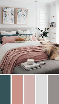 dusty pink, white and teal bedroom colors | Lovely Rooms | Bedroom
