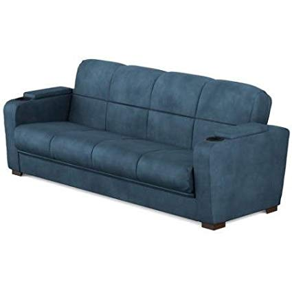 Amazon.com: Futon Bed Couch- with Comfortable Support-Polyester Blue
