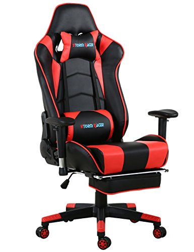 Big Gaming Chair Ergonomic Racing Computer Chair with Footrest,Red