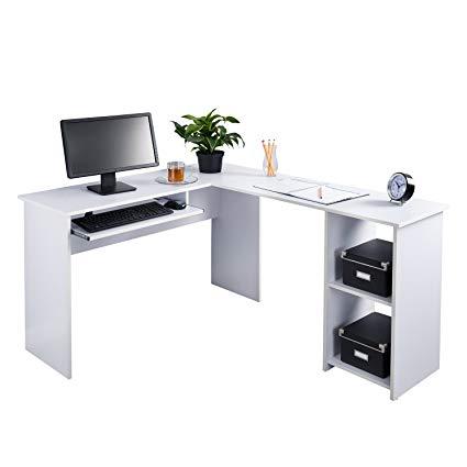 Fineboard L-Shaped Office Corner Desk 2 Side Shelves (White)