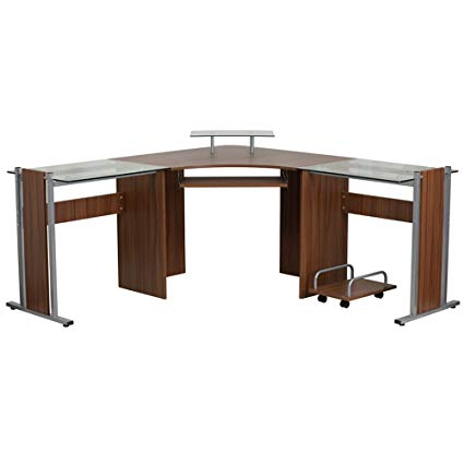 Amazon.com: Wood And Glass Corner Desk u2013 u201cFleuru201d Small Computer