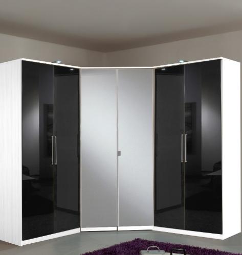 Berlin 6 Door German Wardrobe Black Gloss and Alpine White