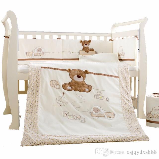 Baby Cot Bedding Set Cotton Crib Bedding Set Detachable Quilt Pillow