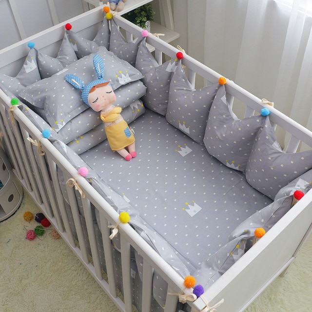 6pcs/set Cotton Baby Cot Bedding Set Grey Crown Crib Bedding Toddler