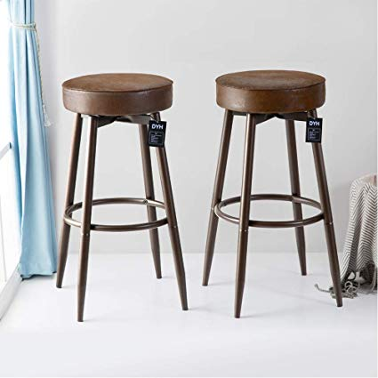 Amazon.com: DYH Metal Bar Stools Set of 2, Swivel Chocolate Kitchen