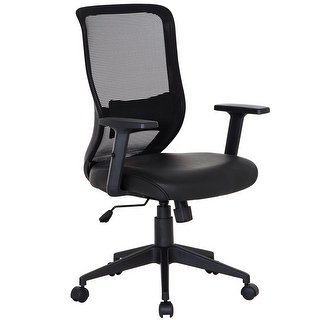 Shop Office Chairs PU Cushion Adjustable Swivel Mesh Desk Chairs