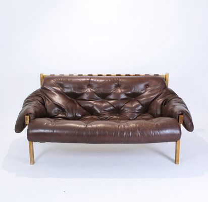 Mid-Century Modern Tufted & Distressed Leather Sofa, 1970s for sale