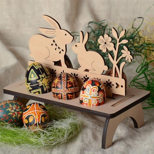 Wood Easter Decorations Creative Carving Happy Easter Pattern Easter