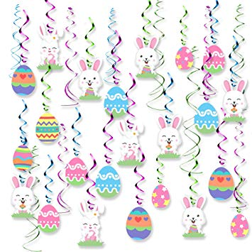 Amazon.com: 30PCS Easter Decorations Egg Bunny Foil Swirl Party