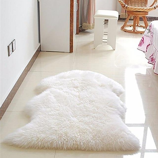 Faux Fur Rug Soft Faux Sheepskin Rug Mat Carpet Pad Anti Slip Chair